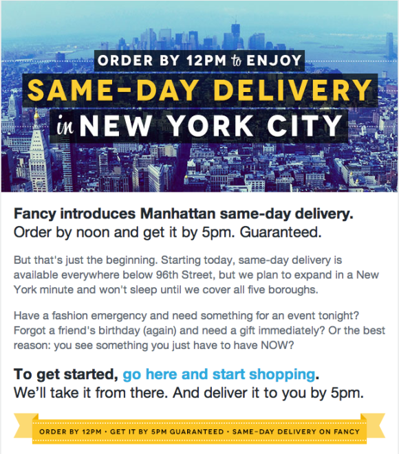 Email I got this morning from The Fancy
